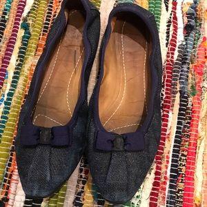 Salvatore Ferragamo Blue Jeans Ballet Flats 7.5